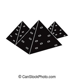 Egyptian pyramids icon in black style isolated on white background. Ancient Egypt symbol stock vector illustration.
