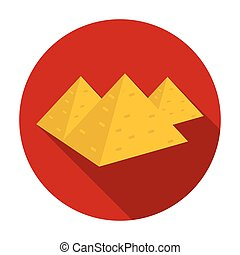 Egyptian pyramids icon in flat style isolated on white background. Ancient Egypt symbol stock vector illustration.