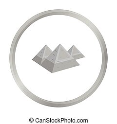 Egyptian pyramids icon in monochrome style isolated on white background. Ancient Egypt symbol stock vector illustration.