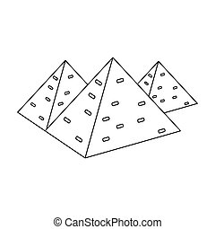Egyptian pyramids icon in outline style isolated on white background. Ancient Egypt symbol stock vector illustration.