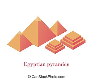 Egyptian pyramids isometrics. Ancient wonder of world complex three pyramids Giza yellow blocks two pedestals stepped design architectural heritage great vector times pointer constellation of Orion.