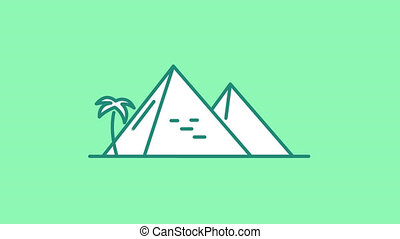 Egyptian Pyramids line icon is one of the Travel and Landmarks icon set. File contains alpha channel. From 2 to 6 seconds - loop.