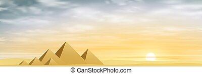 Egyptian Pyramids with Misty Sunset, Sunrise. Vector EPS 10.