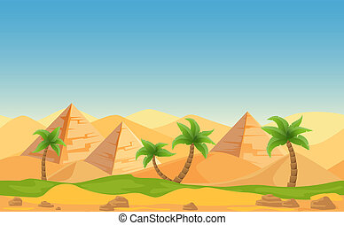 Egyptian pyramids with palms in desert landscape. Cartoon vector illustration.