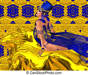 Egyptian queen adorned with gold