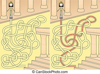 Egyptian queen maze for kids with a solution