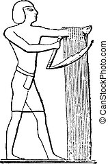 Egyptian reaper, vintage engraving.