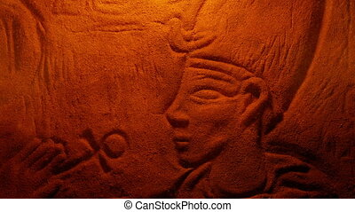 Egyptian Rock Carving Of Man In Firelight - Old weathered...