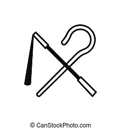 Egyptian rod and whip icon, silhouette style - Egyptian rod...