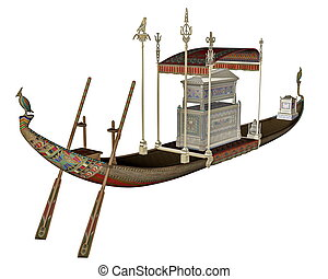 Egyptian sacred barge with tonb - 3D render