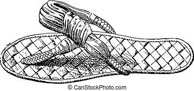 Egyptian sandals, vintage engraving.