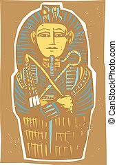 Egyptian Sarcophagus Color - Woodcut Egyptian sarcophagus...