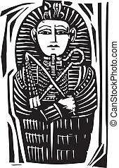 Egyptian Sarcophagus - Woodcut Egyptian sarcophagus for a...