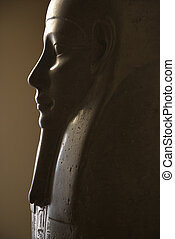 Profile of Egyptian sarcophagus in the Vatican Museum, Rome, Italy.