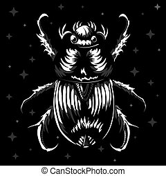 Egyptian scarab beetle, sacred bug, black illustration