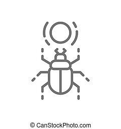 Egyptian scarab, beetle, sacred bug line icon.