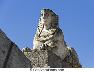 Egyptian sphinx in Park of the Pleasant Retreat (Parque del Retiro) is a huge urban park located in Madrid Spain.