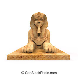 Egyptian Sphinx Statue isolated on white background. 3D...