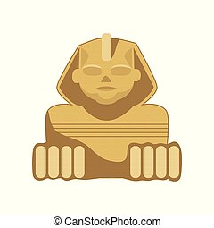 Egyptian Sphinx statue, symbol of ancient Egypt cartoon vector Illustration