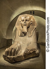 Egyptian sphinx tombstone in the Louvre Museum, Paris