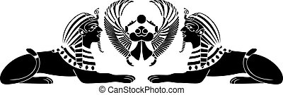 egyptian sphinx with scarab black stencil
