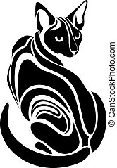Egyptian Sphynx Black cat dangerous evil looking tattoo...