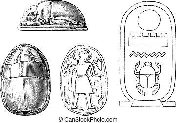 Egyptian stamps depicting sacred beetles, vintage engraving.