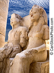 Image of centuries old statues at the Temple of Luxor in Egypt.