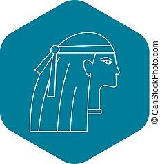 Egyptian style woman icon, outline style