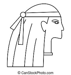 Egyptian style woman icon, outline style