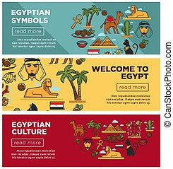 Egyptian symbols and culture promotional internet banners set
