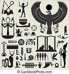 Ancient Egyptian symbols and signs. Collection of different silhouettes.