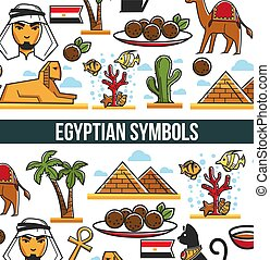 Egyptian symbols promo poster with traditional architecture and nature