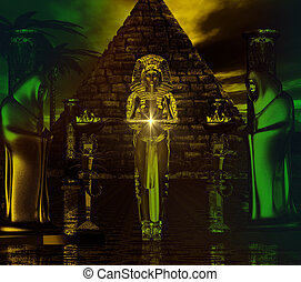 Egyptian temple fantasy scene. A priestess with glowing light, dark sky, and fire stands in front of a pyramid with two hooded men at her side. A magical, spiritual and fantastic scene to let your imagination wander to another place!