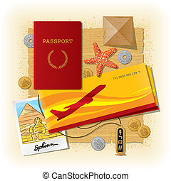 Egyptian travel still life - Vector travel still life from...