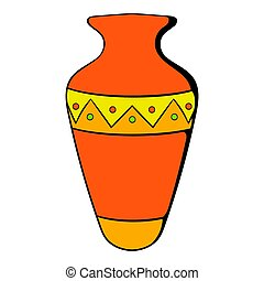 Egyptian vase icon cartoon