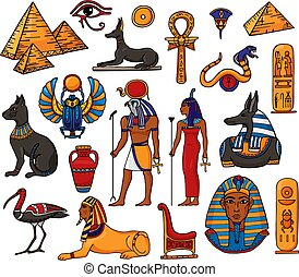 Egyptian vector pharaoh character ancient man woman god ra pyramid sphinx cat statue of Egypt culture historical illustration set of archeology collection african vase isolated on white background