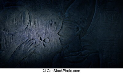 Egyptian Wall Art Lit Up In Dusty Tomb - Torch shone on...