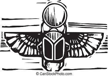 Egyptian Winged Scarab - Woodcut style an Egyptian winged...