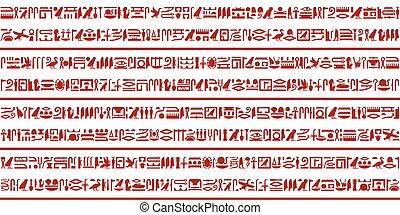 egyptisch, 3, hieroglyphic, set, schrijvende