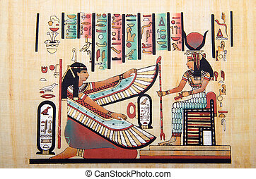 egyptisch, geschiedenis, concept, met, papyrus