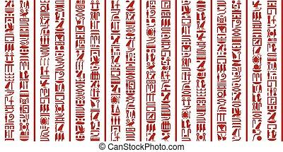 egyptisch, hieroglyphic, set, schrijvende