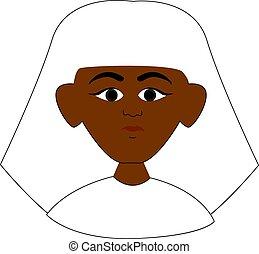 egyptisch, illustratie, achtergrond., vector, witte , man