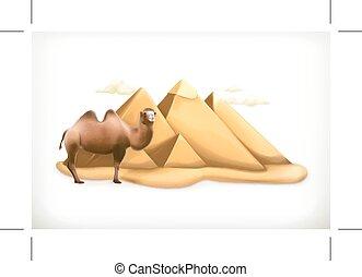 egyptisch, illustratie, piramides