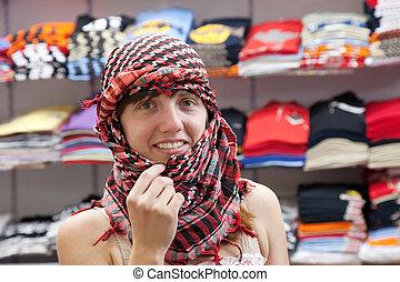 egyptisch, kleren, vrouw, winkel