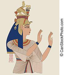 egyptisch, koningin, taia