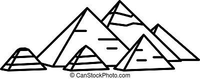 egyptisch, oud, piramides