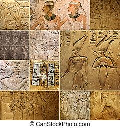 egyptisch, oud, werkjes, rotsen