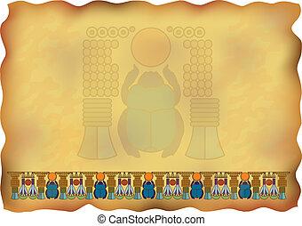 egyptisch, papyrus, met, versieringen, en, scarab.
