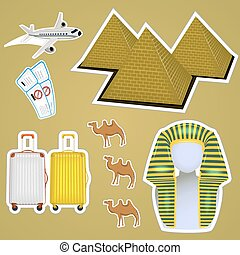 egyptisch, sticker, piramides